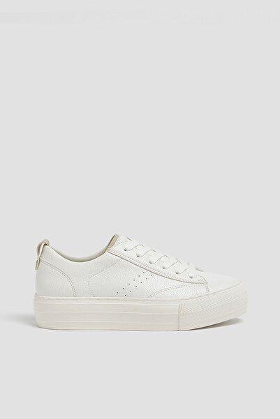 Pull & Bear Kadın Beyaz Platform Taban Spor Ayakkabı 11227540
