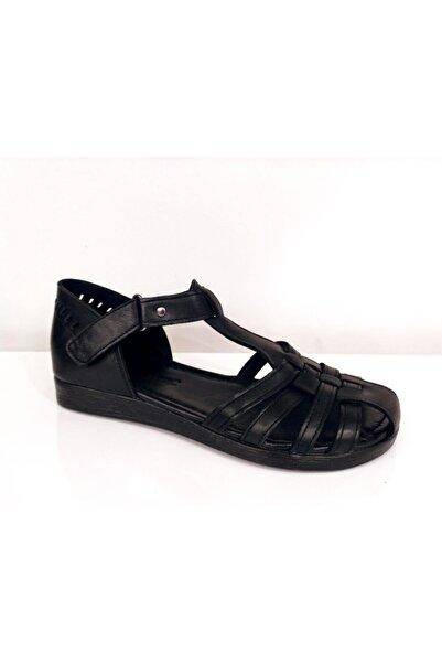 PUNTO Kadın Siyah Düz Taban Hakiki Deri Sandalet 661139