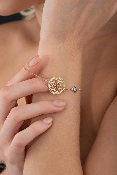 Else Silver Kadın Gold Yaşam Çiçeği Gümüş Bileklik