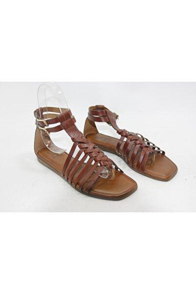 İnci Kadın Kahve 38 Numara Hakiki Deri Sandalet Ayakkabı