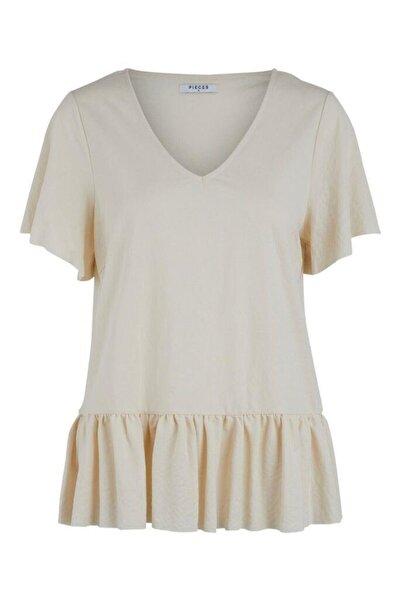 PIECES Kadın V Yaka Etek Kısmı Volanlı T-shirt
