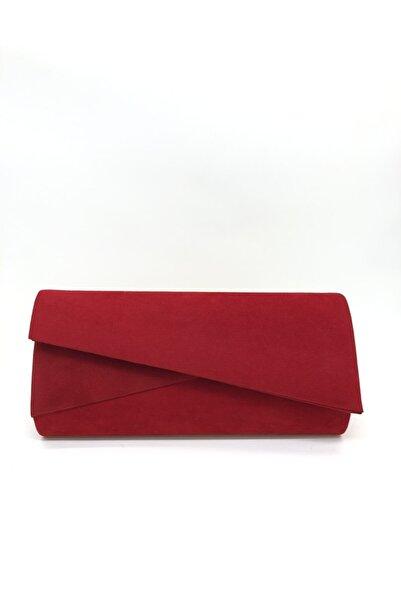 womenacs Kadın Kırmızı Renk Süet Abiye Clutch Portföy Çanta