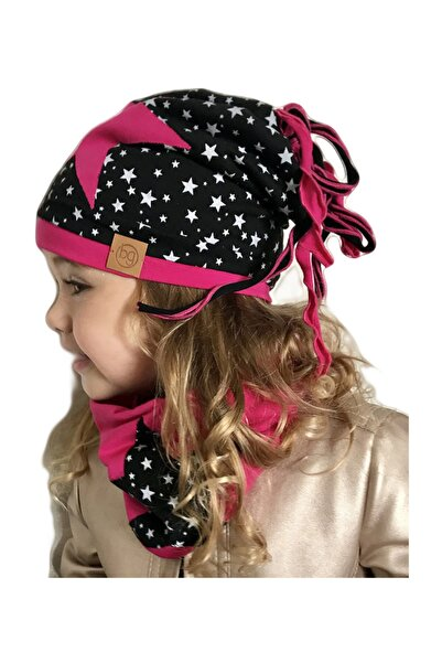 Babygiz Kız Çocuk Siyah Fuşya Bere Boyunluk