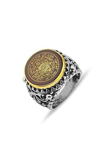 MySilvers Akik Taşlı Hz. Süleyman Mührü Gümüş Erkek Yüzüğü