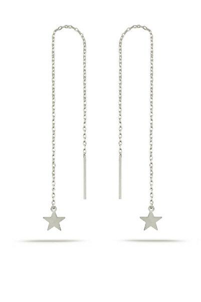 Gümüş Rodyumlu Yıldız Zincir Küpe Yıldız Sallantılı Küpe