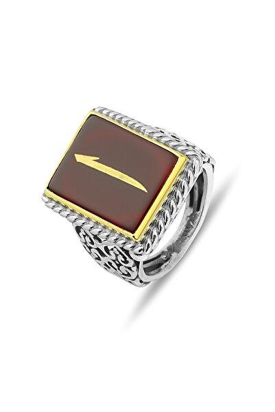 MySilvers Akik Taşlı El Işi Gümüş Erkek Yüzüğü