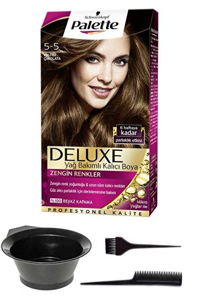 SCHWARZKOPF HAIR MASCARA Palette Deluxe 5-5 Işıltılı Çikolata Saç Boyası Ve Saç Boyama Seti