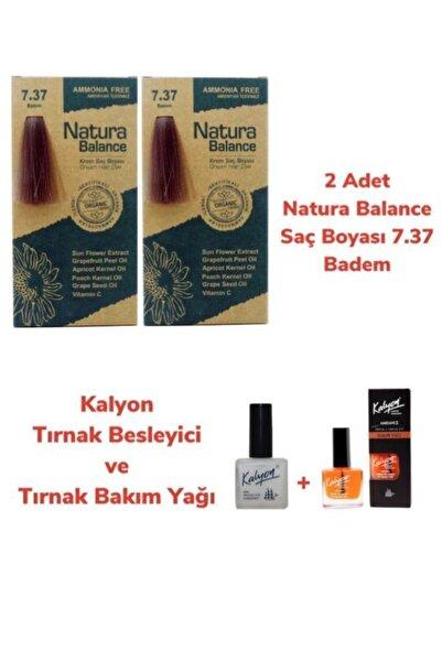NATURABALANCE Balance Saç Boyası 7.37 Badem 2 Adet + Kalyon Tırnak Besleyici Ve Bakım Yağı