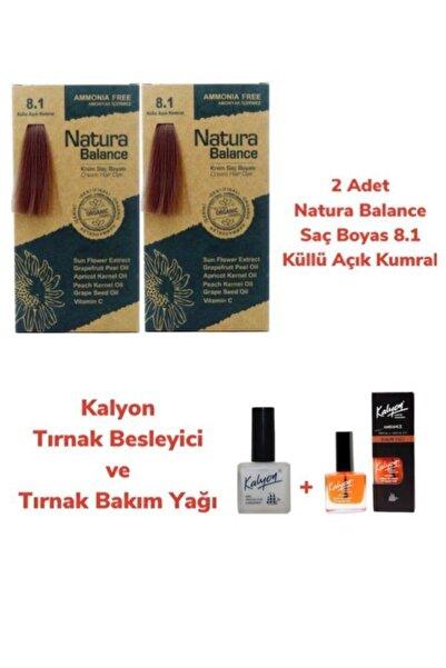 NATURABALANCE Balance Saç Boyası 8.1 Küllü Açık Kumral Bakır 2 Adet + Kalyon Tırnak Besleyici Ve Bakım Yağı