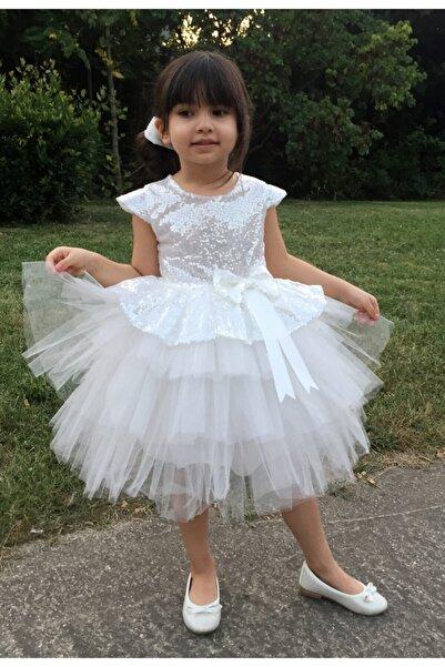 Mixie Kız Çoçuk Beyaz Pullu Doğum Günü Abiye Tüllü Elbise