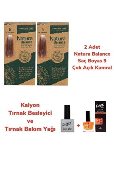 natura Balance Saç Boyası 9 Çok Açık Kumral Bakır 2 Adet + Kalyon Tırnak Besleyici Ve Bakım Yağı
