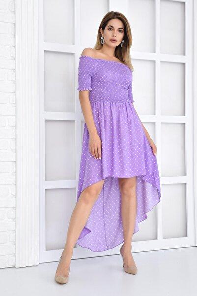 İroni Karmen Yaka Puantiyeli Lila Elbise