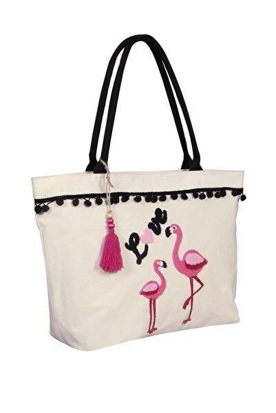Bakras Flamingo Nakışlı Cepli Fermuarlı Plaj Çantası