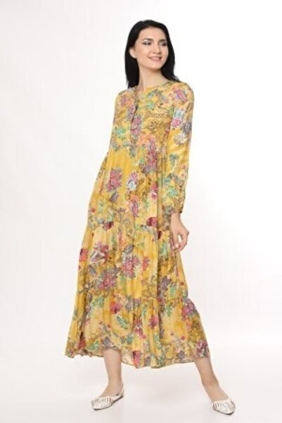 Kadın Sarı Gizli Düğmeli Bol Kesim Desenli Viskon Elbise