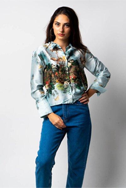 CNS Kadın Mavi Desenli Gömlek