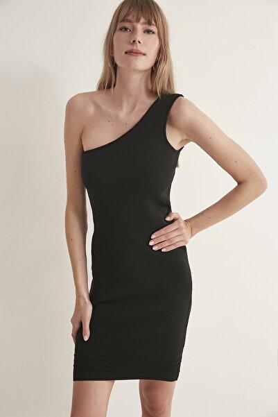 JOIN US Tek Omuz Triko Elbise-siyah
