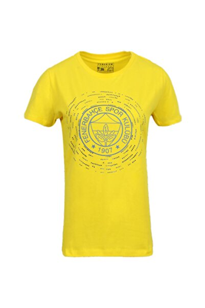 Fenerbahçe Kadın Sarı Baskılı Taşlı T-shirt