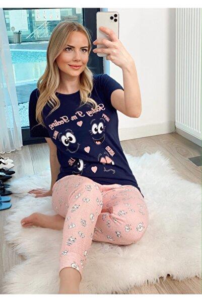 Oblavion Kadın Lacivert Funny Kısa Kol Pijama Takım
