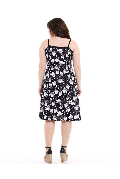 Ip Askılı Siyah Zakkum Desen Penye Elbise
