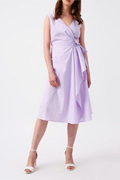 Kadın Lila Beli Bağlamalı Kruvaze Kolsuz Midi Elbise