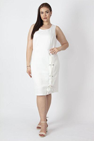 Şans Kadın Kemik Kuşgözü Detaylı Elbise 65N17029