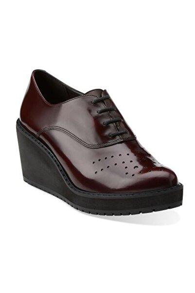 CLARKS Kadın Bordo Game Oval Dolgu Topuk Ayakkabı