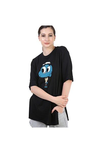YOYOSO Kadın Siyah Oversize Gumball Baskı T-Shirt