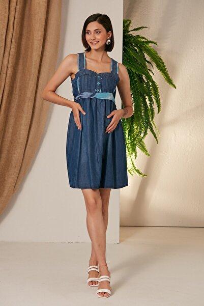 Görsin Hamile Kadın Mavi Gör&sin Hamile Beli Detaylı Kısa Elbise