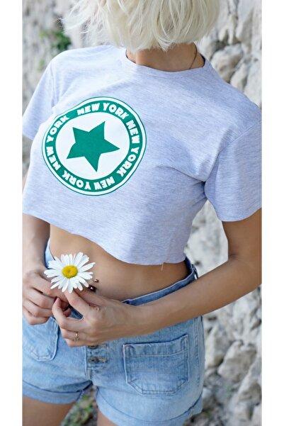 River Island Gri Newyork Yıldız Baskılı T-shirt
