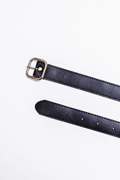 Kadın Kahverengi-Siyah Kare Tokalı 3 Cm İnce Deri Kemer - İkili Paket 20YKM0004