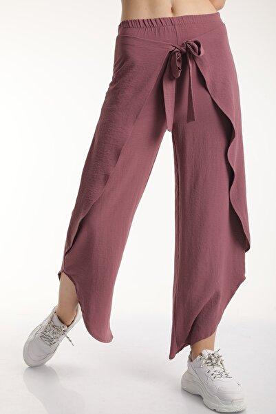 MD trend Kadın Gül Kurusu Bel Lastikli Bağlamalı Anvelop Pantolon Mdt6513