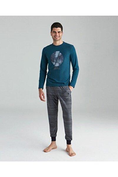 U.S POLO Erkek Yeşil Us Polo Yuvarlak Yaka Pijama Takım
