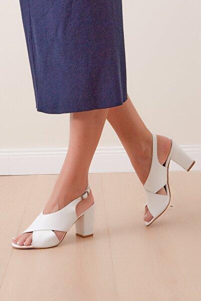 Shoes Time Kadın Beyaz Topuklu Ayakkabı 20y 203