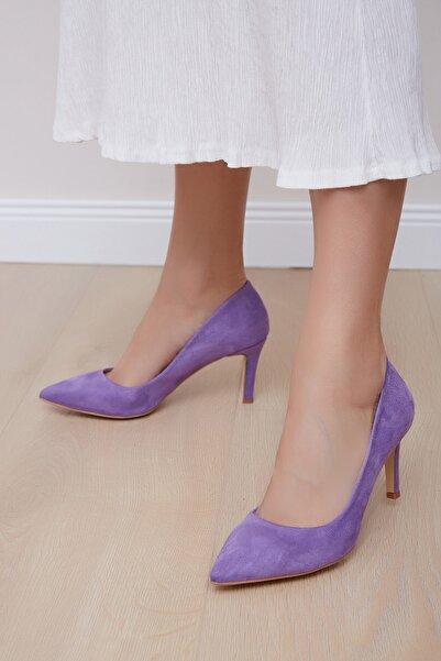 Shoes Time Kadın Lila Süet Topuklu Ayakkabı 20y 219