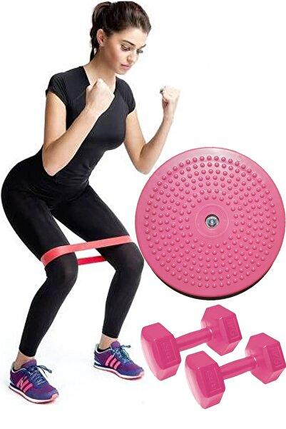 Jet Twister Disk Bel Inceltici Dönen Disc + Squat Aerobik Pilates Bandı Lastiği + 1 Kg Dambıl Plates Set