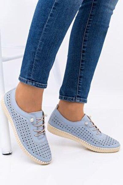 Kadın Mavi Ortopedik Delikli İpli İçi Deri Alçak Topuk Günlük Rahat Ayakkabı