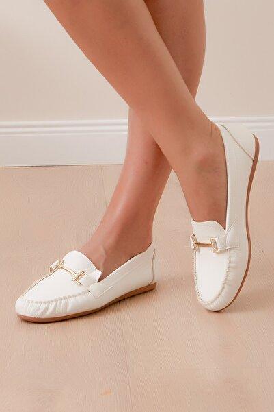 Shoes Time Kadın Beyaz Babet 408