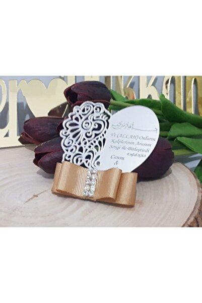 Hayaller Dükkanı 30 Adet İşlemeli Kalp Dualı Pleksi Magnet-Gümüş