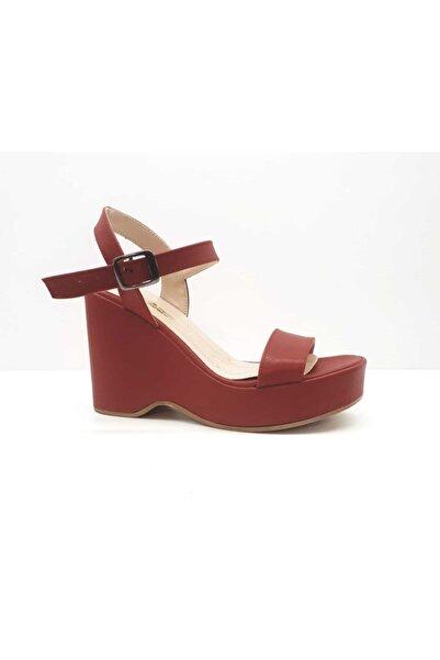 PUNTO Kadın Kırmızı Dolgu Topuk Sandalet 439003z