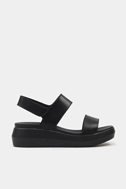 Hotiç Hakiki Deri Siyah Kadın Düz Sandalet