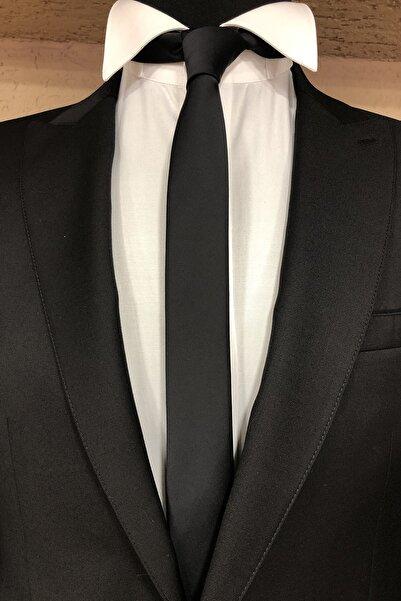 Quesste Accessory Quesste Erkek Siyah Düz Mat Saten Çok Ince Kravat