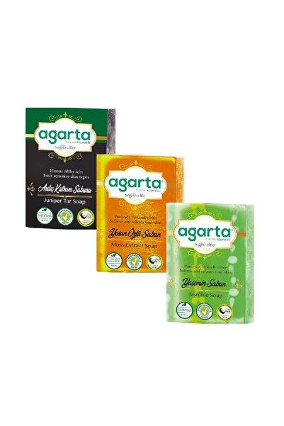 Agarta 3lü Bitkisel Sabun Ardıç Katranı + Yosun + Yasemin 150gr*3