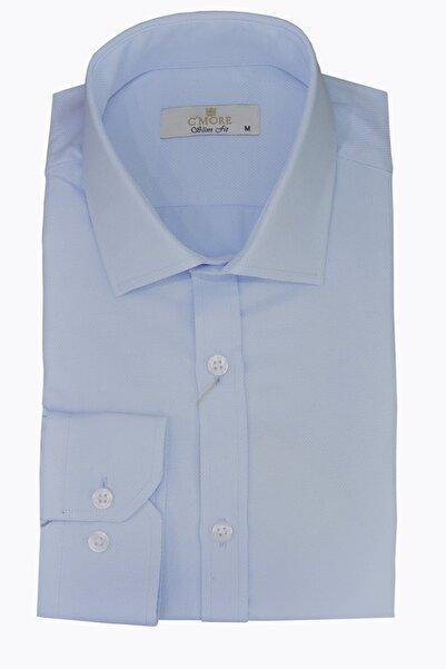 C'More Erkek Mavi Pamuklu Gömlek