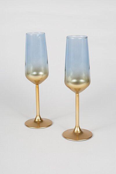 Rakle Glow 2'li Şampanya Kadehi Seti Mavi 195 cc