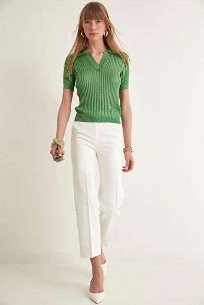JOIN US Kadın Yesıl Ajurlu Polo Yaka Simli Triko Bluz 2020S018