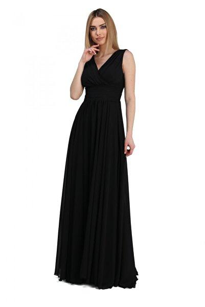 Pierre Cardin Kadın Siyah Şifon V Yaka Uzun Abiye Elbise PC54506
