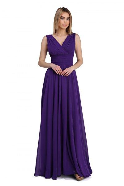 Pierre Cardin Kadın Mor Şifon V Yaka Uzun Abiye Elbise PC54506
