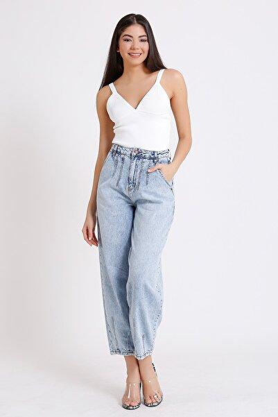 Yüksek Bel Jeans Balon Tipi Açık Mavi Yan Cep 2097