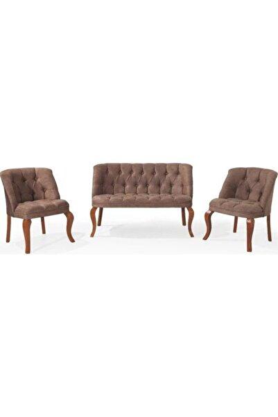 İndirim Çadırı Vinda Çay Seti Koltuk Takımı, Salon Balkon Takımı - 2+1+1 Kahverengi