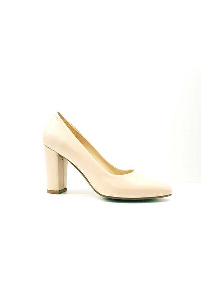 PUNTO Kadın Bej Kalın Topuk Klasik Ayakkabı 462003z